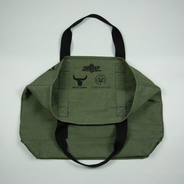 Зелёная сумка из ткани